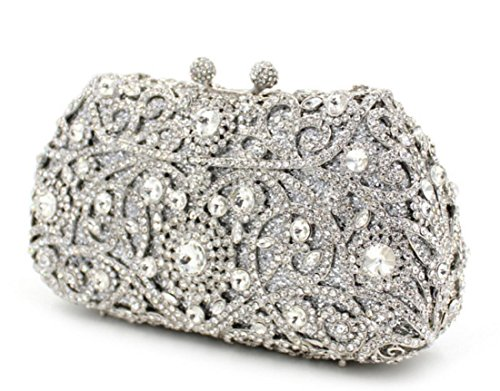 XYXM Lady clutch luxury full drill handbag metal handmade crystal bag dress  pack evening bag , silver: Amazon.co.uk: Sports & Outdoors