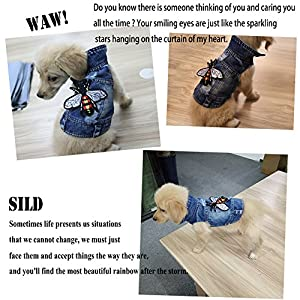 SILD Pet Clothes Dog Jeans Jacket Cool Blue Denim Coat Small Medium Puppy Blue Vintage Washed Clothes Dogs Lapel Vests Classic Hoodies