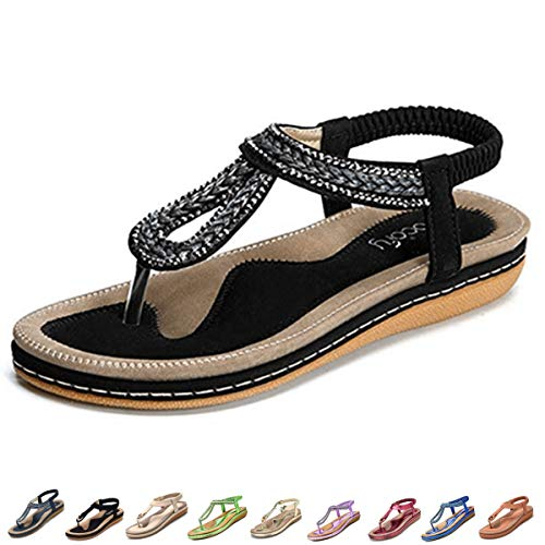 gracosy Women's Flat Sandals, Summer Beach Flip Flops Thong T-Strap Flat Rhinestone Beads Slipper Bohemia Elastic Slip On Black 8.5 M US