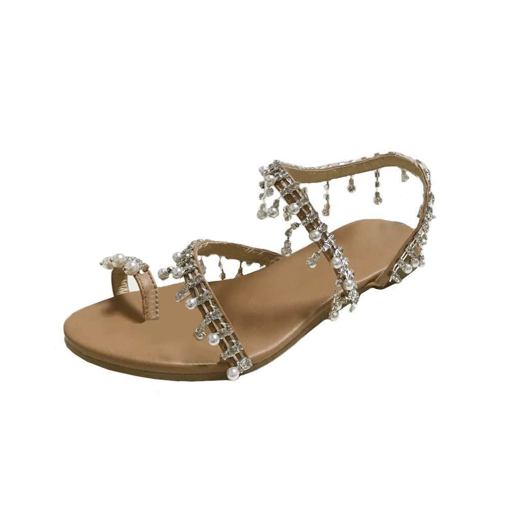 Luckhome Damen Sommer Sandalen Perlen Bohemia Strand Schuhe Freizeit Flach Sandalette Art- Und Weisefrauen Bördelten Sandelholz-Sommer-Schuh-Partei-Reizvolle Perlen-Flache Unterseiten