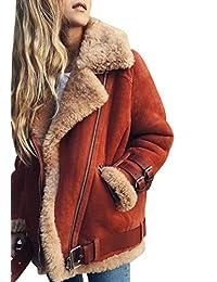 SYTX Womens Fashion Suede Faux Fur Lined Plus Size Aviator Biker Jacket Coat