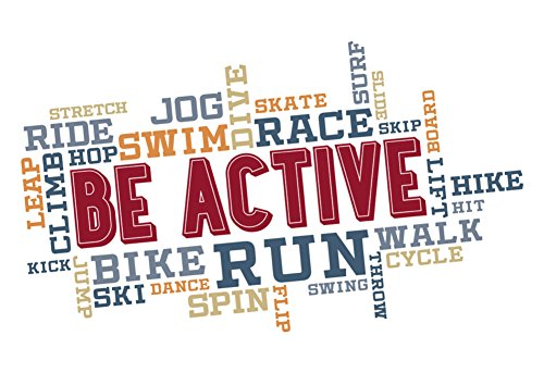 Active Fitness Word Cloud Collage Poster 19 x 13in