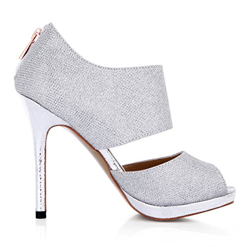 Sandals female show new silver flash the the high-heel shoes Annual Dinner of the mouth fish women shoes Silver zxUtD