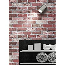 MIRUIKE Retro Faux Brick Stone Textured Pattern Self-adhesive Wallpaper Roll for Home Room Decoration