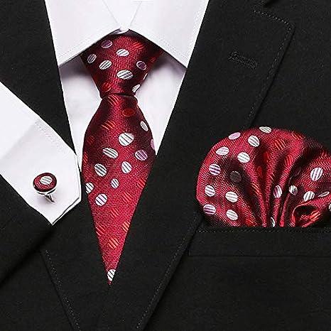 AYWEI Corbata Corbata para Hombre 100% Seda Seda Roja Plaid ...