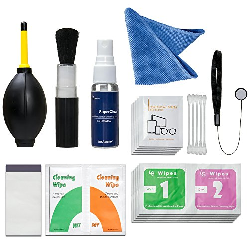LS Photography 7 in 1 Care & Cleaning Kit Camera Accessory, Lens Cap Holder, Cleaning Wipes, LGG346