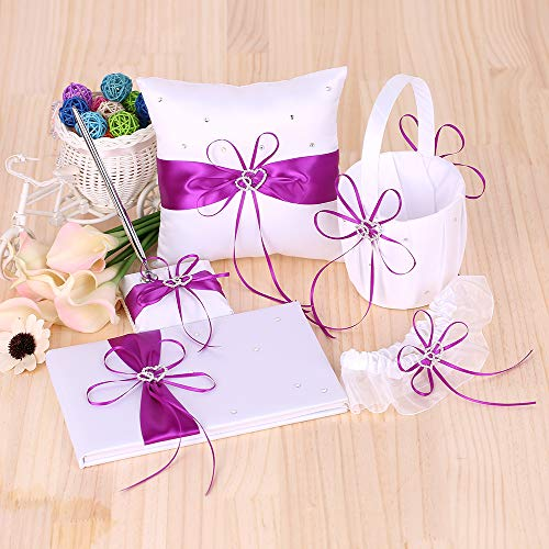 De-cdeal 5pcs/Set Wedding Supplies Double Heart Satin Flower Girl Basket + 7 7 inches Ring Bearer Pillow + Guest Book + Pen Holder + Bride Garter Set