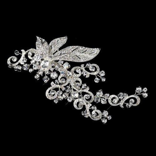 arkling Rhinestone Covered Leaf Swirl Bridal Hair Clip Antique Silver Headpiece ()