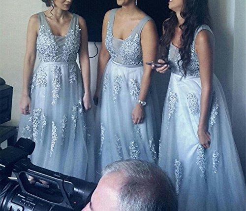 Spitze Brautjungfernkleid mit Abendkleid Lang Träger Ballkleid Schwarz Rückenfrei Tüll Hochzeit Babyonline Damen RUWnz8RE