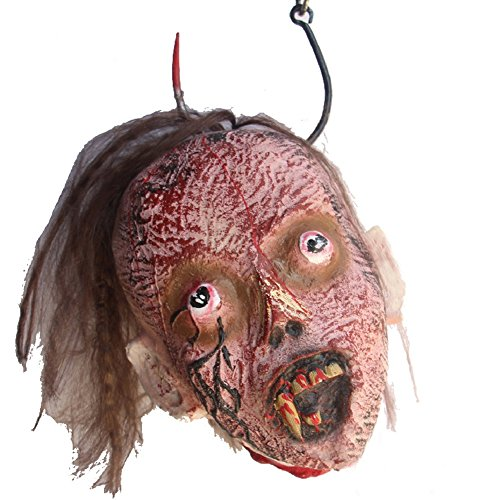 LETSQK Scary Realistic Cut Off Corpse Head Prop Halloween accessories Decorations (Haunted House Ideas And Props)