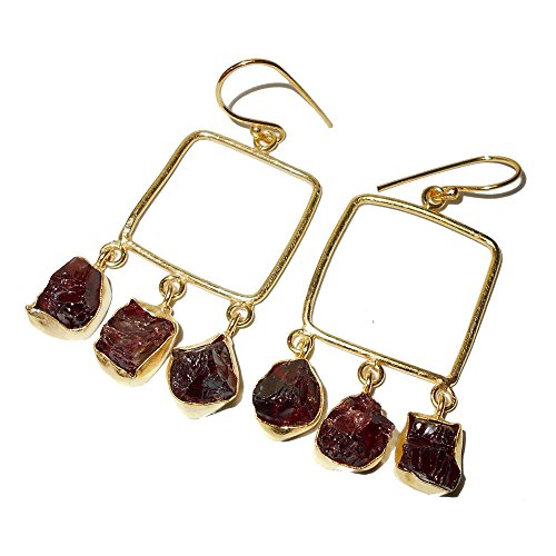 Artisans Handcrafted 18k Gold Vermeil Natural Garnet Gemstone Chandelier Earrings (Settings Vermeil Earrings)