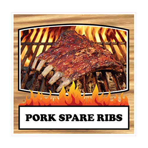 (Die-Cut Sticker Multiple Sizes Pork Spare Ribs Restaurant & Food Pork Spare Ribs Indoor Decal Concession Sign Brown - 10in Longest Side)