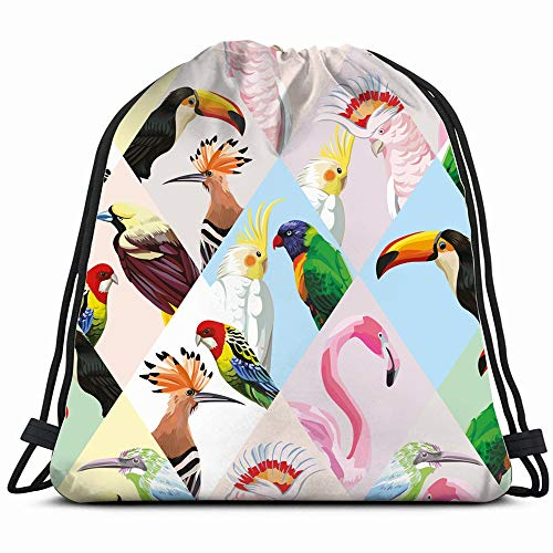 Exotic Beach Trendy Patchwork Abstract Animals Wildlife Drawstring Bag Backpack Gym Dance Bag Reversible Flip Sequin Bling Backpack For Hiking Beach Travel Bags
