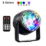 Party Lights Disco Ball, 5W RGBWP LED Magic Crystal Rotating 7 Colors Mini Strobe Light DJ Lighting Sound Activated Stage Lights for Christmas Home Party Supplies