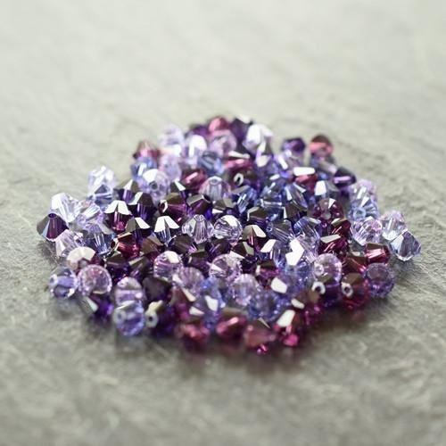 Swarovski Crystal Bicone Bead Mix Purples | 6mm | Pack of 100 | Small & Wholesale Packs - Swarovski Genuine Necklace