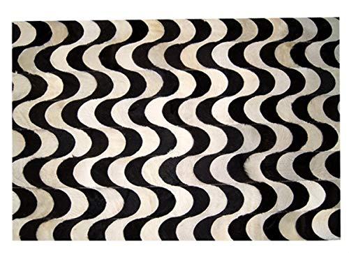 Tapete em Couro, Desenho Geométrico, Tapecouro, Preto/Branco