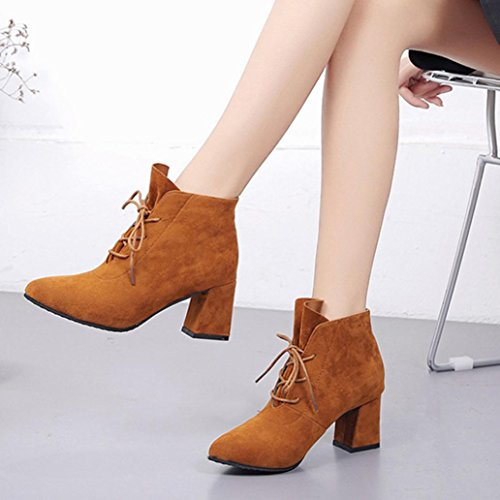 Colorful TM Fashion Women Winter Boots Square Heel Platforms Thigh High Pump Boots High Heel Boots Shoes Brown 7ciN0r5