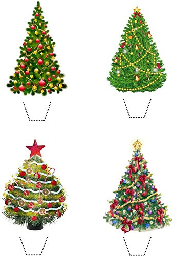 Price comparison product image Christmas Tree Collection 12 Edible Stand up wafer paper cake toppers - UNCUT (5 - 10 BUSINESS DAYS DELIVERY FROM UK)