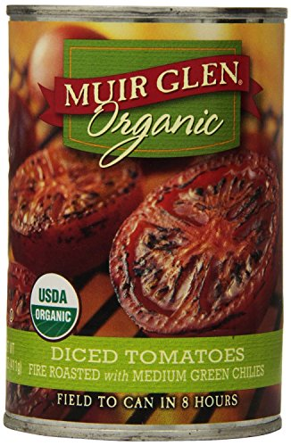 Muir Glen Organic Diced Tomatoes, Fire Roasted with Medium Green Chilies, 14.5-Ounce Cans (Pack of 6)