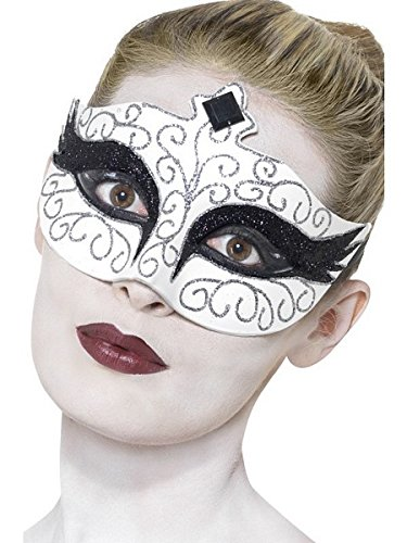 [Smiffy's Women's Gothic Swan Eye mask, White, One Size, 27318] (White And Black Swan Halloween Costumes)