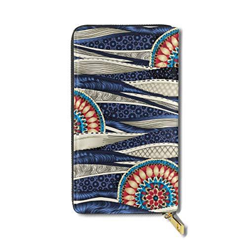 National Sea Wind Large Capacity Zip Around Slim Billfold Real Leather Wallet Card Holders For Men Women Boy Girl