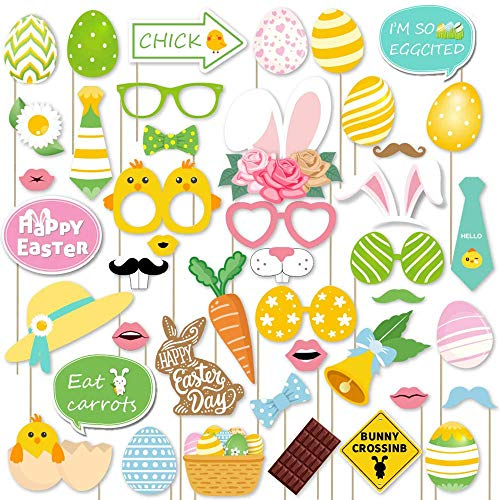 Trgowaul 44 Pack Easter Party Photo Booth Props Kit Spring Photo Props Set for Easter Egg Hunt Bunny & Baby Chick Party Accessories Easter Decorations ()