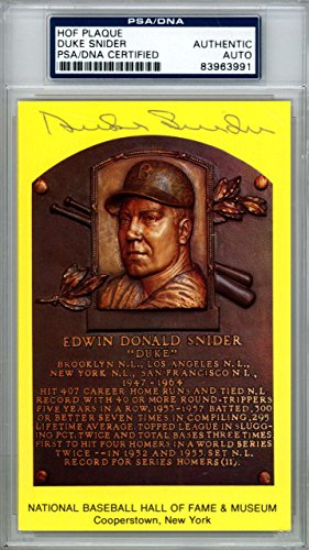 Duke Snider Authentic Autographed Signed HOF Plaque Postcard #83963991 PSA/DNA Certified MLB Cut Signatures
