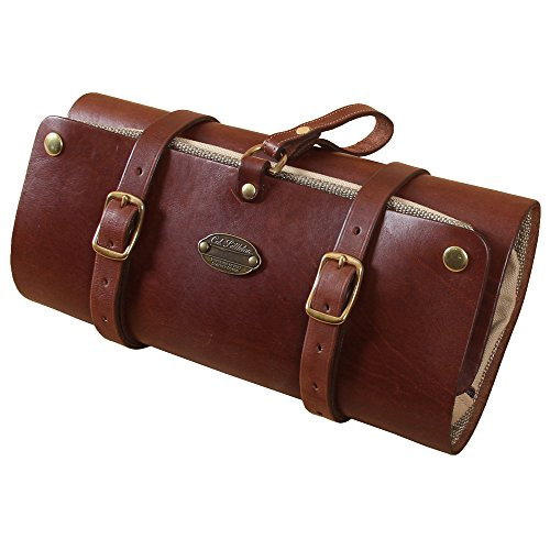 Leather Mens Shaving Dopp Kit Case Hanging Toiletry Roll Brown USA Made No. 2 by Col. Littleton