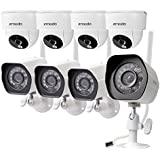 Zmodo Wireless Security Camera System (8 Pack - 4 Outdoor 4 Indoor) Smart HD Outdoor WiFi IP Cameras with Night Vision