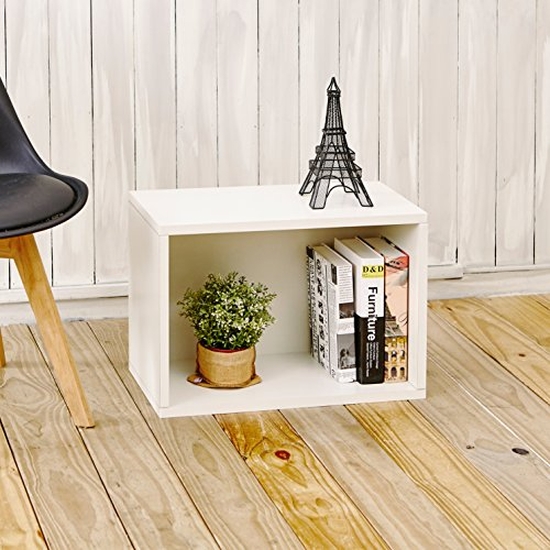 Way Basics Eco Stackable Bookcase Shelving and Shoe Rack, White  (Tool-Free Assembly and Uniquely Crafted from Sustainable Non Toxic zBoard paperboard) (Stackable Bookcase White)