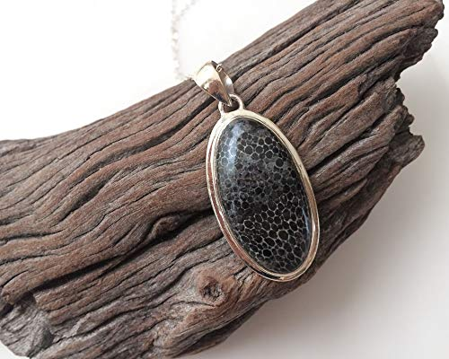 Black Coral fossil/Agatized Coral pendant, Handmade sterling silver and natural gemstone