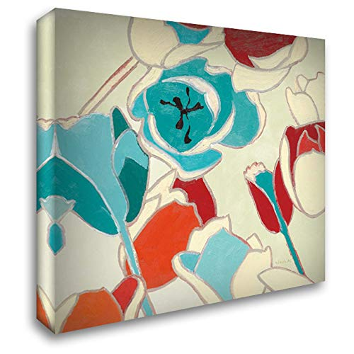 (Cloisonne Tulipe I Turquoise Vignette 48x48 Extra Large Gallery Wrapped Stretched Canvas Art by Novak, Shirley)