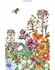 Botanical Wildflowers and Bees Journal and Notebook: Blank Dot Grid 150 Page 5x8 Journal for Notes, Drawing, Planning, Sketching, Lists, and Ideas.