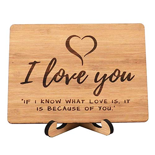 Zuaart I Love You Greeting Card Handmade With Real Bamboo Wood and Stand- I know what love is it because of you - perfect for valentine day ()