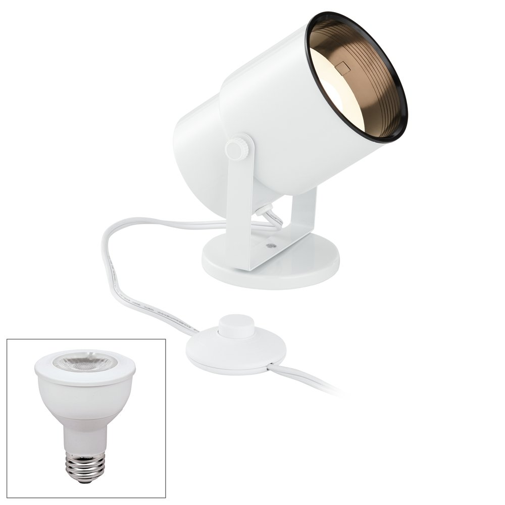R20 60W Pinup W/Foot Switch WHT W/LED 7