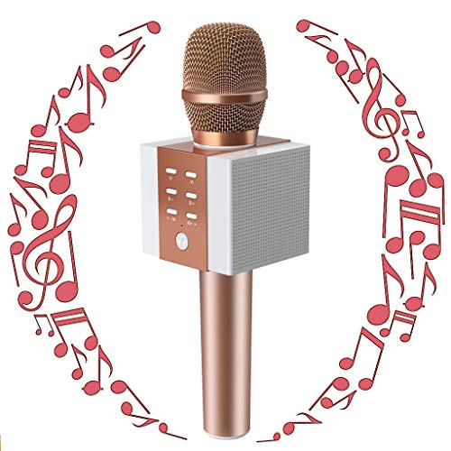 Wireless Karaoke Microphone for Kids Teenagers Girls Adults, Portable Bluetooth Karaoke Singing Mic Machine with Speaker, Superior Stereo Sound, Best Birthday Gifts for Kids Age 5 Years Old and Plus