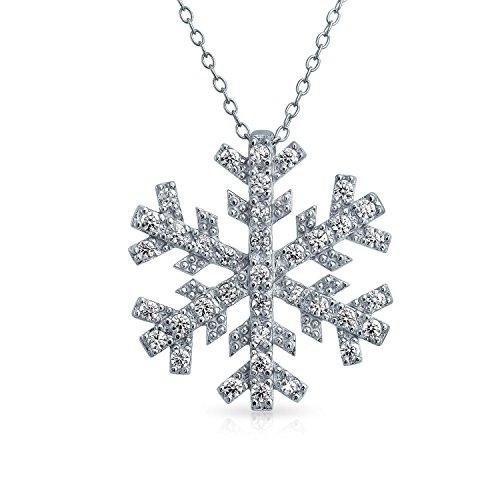 Bling Jewelry CZ Snowflake Pendant Rhodium Plated Necklace 16 Inches - Rhodium Snowflake Pendant