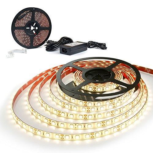 Moobibear 16.4ft/5m Flexible LED Light Strips, Waterproof LED Flexible Warm Yellow Light Strip with 12V 5A 300 SMD 5050 LED, Warm white, Lighting Strips, LED Tape (300 Leds, 60W)