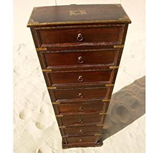 Rustic 8 drawer antique jewelry armoire for Juno vintage modern jewelry armoire