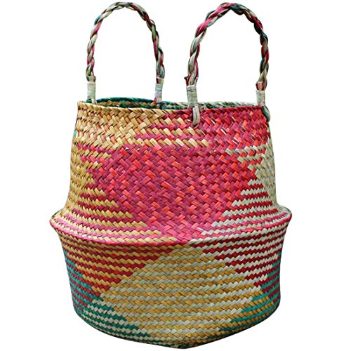 SeedWorld Storage Baskets - Handmade Foldable Bamboo Weaving Storage Pot Garden Flower Vase Hanging Basket with Handle Storage Bellied Basket 1 PCs