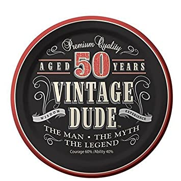 Whimsical Practicality 50th Birthday Vintage Dude Aged 50 Years Edible Icing Image Cake Cupcake