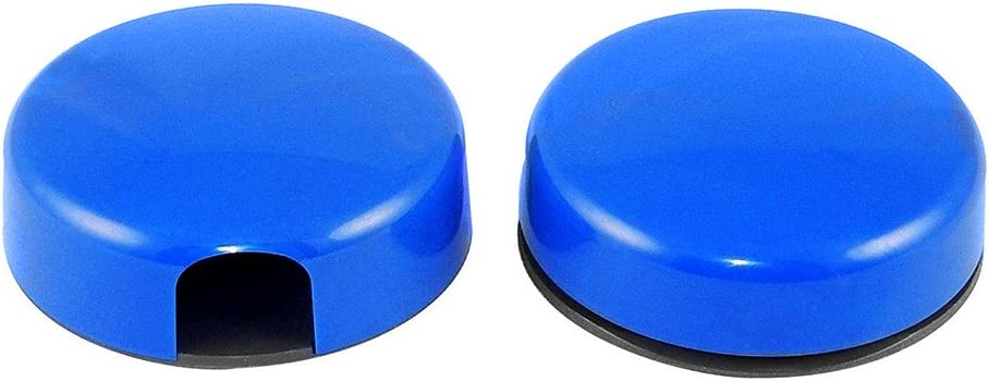 Pair of 2 Magnetic for Pen and Memo Holders, Round, Plastic - Blue.