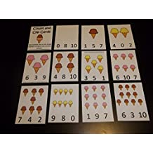 11 laminated Ice Cream Cone themed Numbers 1-10 Preschool Math Count and Clip Cards.