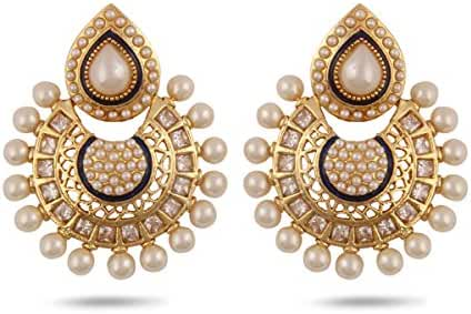 Gold Plated Studded Kundan and Pearl Earring.