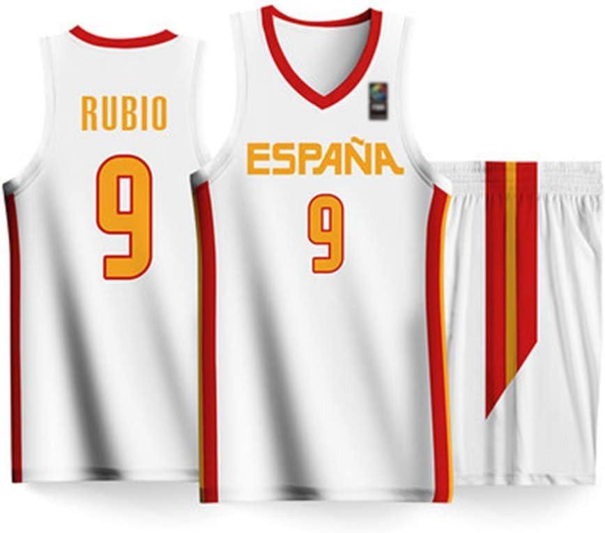 WANWW Camiseta Unisex Copa del Mundo España # 9 Rubio Baloncesto Jersey Chaleco Conjunto De Entrenamiento Deportivo Secado Rápido Ropa Deportiva Transpirable,Blanco,XXL:190cm/95~105kg: Amazon.es: Hogar