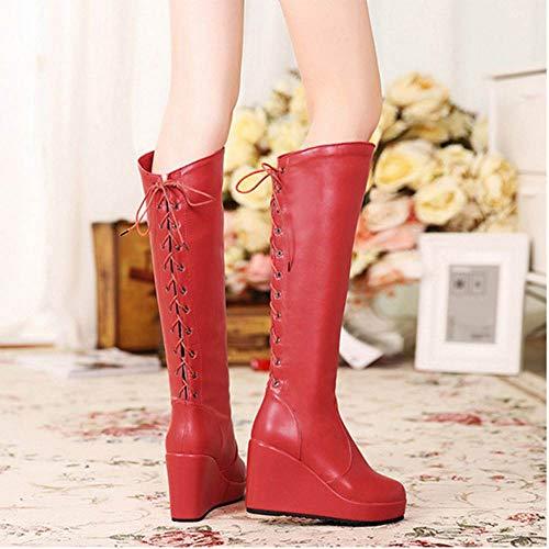 Long Haut Lacets Boots Compensé Rouge Femmes Talon Coolcept qPA7O7