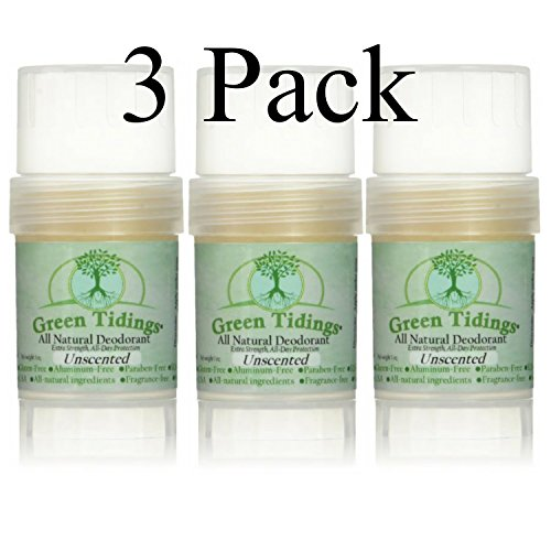 Green Tidings All Natural Deodorant *Extra Strength, All Day Protection* Unscented 1oz (3 PACK- 25% OFF) (Vegan, Cruelty Free, Aluminum Free, Paraben Free, Non Toxic, Solid Lotion Bar Tube) by Green Tidings
