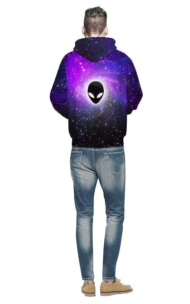 Befox Unisex Realistic 3D Print Alien Pullover Sudaderas con Capucha con Bolsillos Grandes