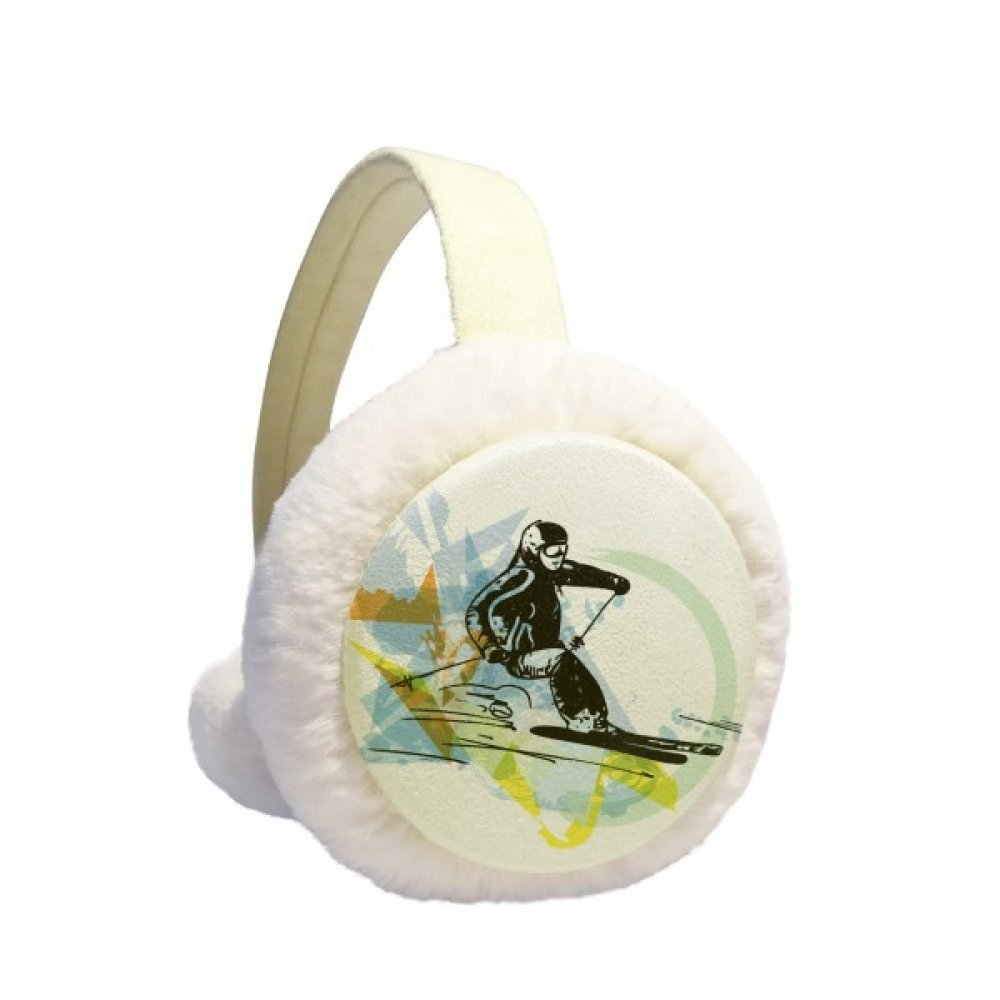 Sport Winter Athletes Freestyle Skiing Watercolor Winter Earmuffs Ear Warmers Faux Fur Foldable Plush Outdoor Gift