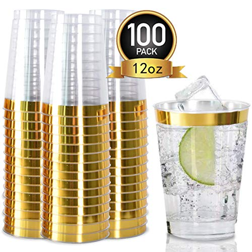 Extra Heavyweight Tumbler - 100pack Gold Plastic Cups- 12oz Clear Plastic Cups with Gold Rim-Wedding/Party Disposable Cups-Heavyweight Plastic Tumblers-OUGOLD (Gold Trim)